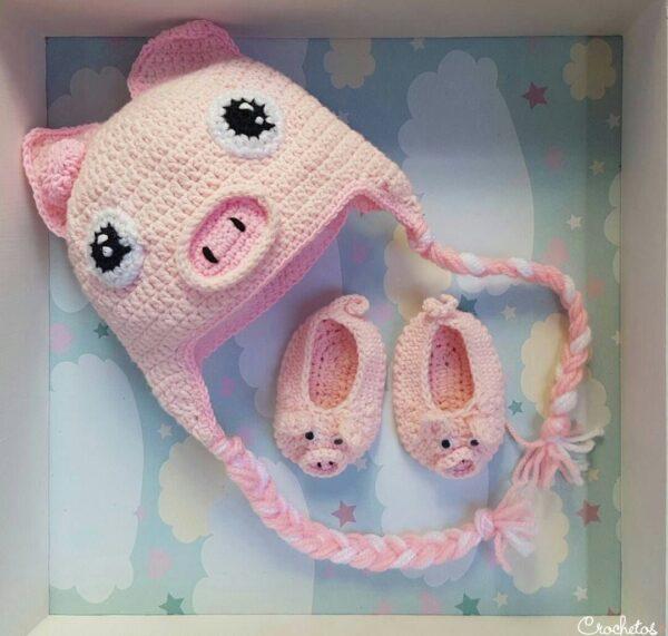 gorro-escarpines-crochet-cerdito
